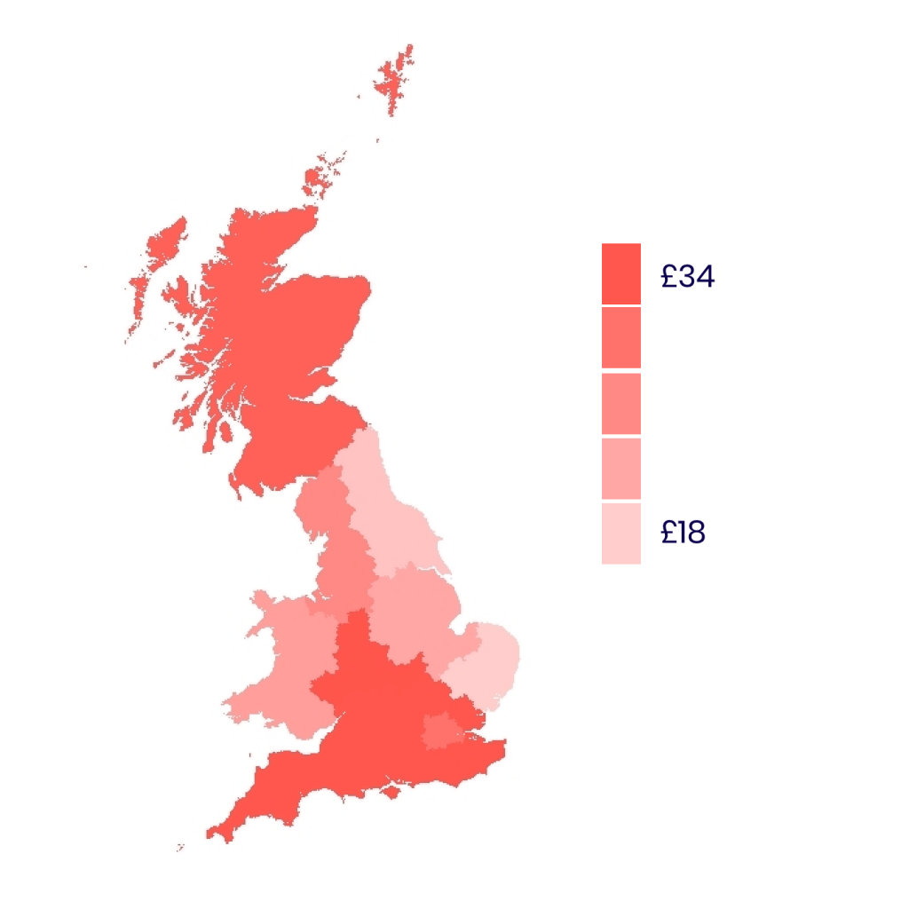 Average extra monthly tax for NHS by region